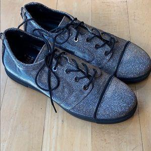 STUART WEITZMAN Gold/Silver Shimmer Sneakers